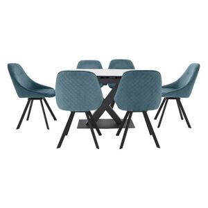 Arctic Extending Dining Table with White Top and 6 Swivel Chairs - Blue