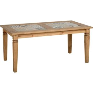 Selkin Tile Top Dining Table Distressed Waxed Pine