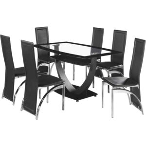 Hamini Dining Set Clear Glass and Black Border