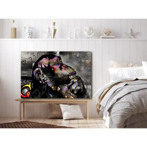 Canvas Print Other Animals: Pensive Monkey (1 Part) Wide