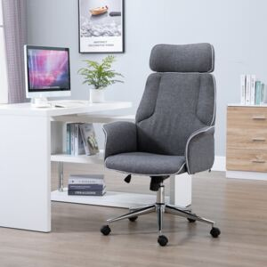Vinsetto Desk Rocking Chair for Office Executive Adjustable High Back on Wheels Grey