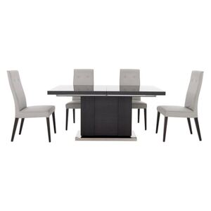 ALF - St Moritz Extending Table and 4 Faux Leather Upholstered Chairs - Grey