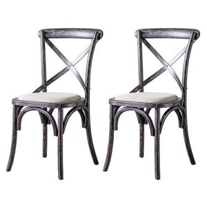 Riviera Pair of Cross Back Chairs - Black