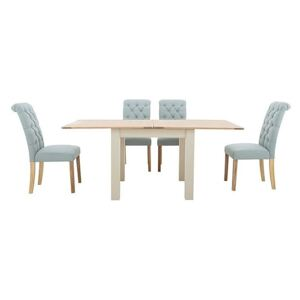 Furnitureland - Angeles Flip Top Extending Dining Table and 4 Button Back Dining Chairs - Blue