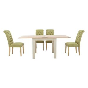 Furnitureland - Angeles Flip Top Extending Dining Table and 4 Button Back Dining Chairs - Green