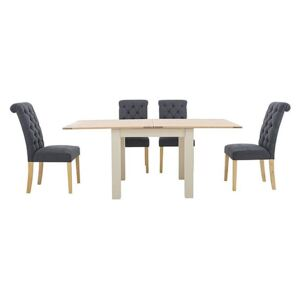 Furnitureland - Angeles Flip Top Extending Dining Table and 4 Button Back Dining Chairs