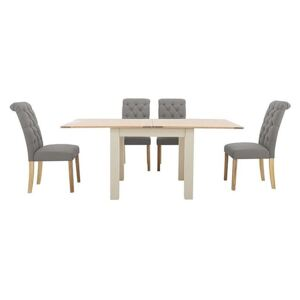Furnitureland - Angeles Flip Top Extending Dining Table and 4 Button Back Dining Chairs - Grey