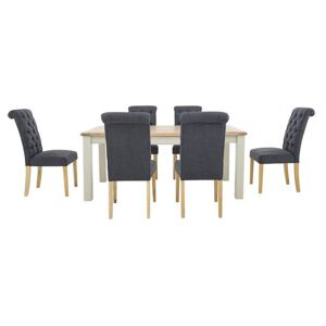 Furnitureland - Angeles Rectangular Extending Dining Table and 6 Button Back Dining Chairs