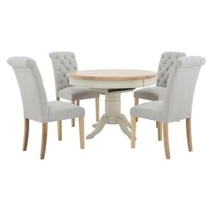 Furnitureland - Angeles Round Extending Dining Table and 4 Button Back Dining Chairs