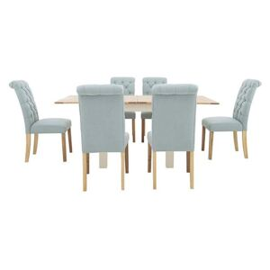 Furnitureland - Angeles Flip Top Extending Dining Table and 6 Button Back Dining Chairs - Blue
