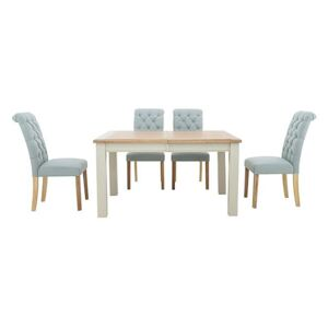 Furnitureland - Angeles Rectangular Extending Dining Table and 4 Button Back Dining Chairs - Blue