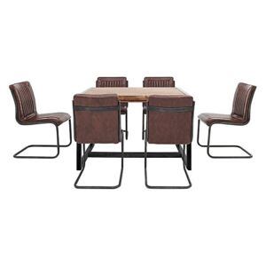Fire Small Dining Table and 6 Chairs - Brown