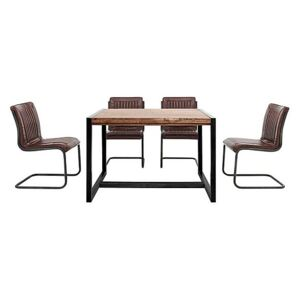 Fire Small Dining Table and 4 Chairs - Brown
