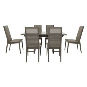 ALF - Movado Extending Dining Table and 6 Dining Chairs - 210-cm - Grey