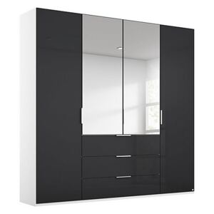 Rauch - Formes Glass 4 Door Combo Hinged Wardrobe with 2 Mirrors and Drawers - Black