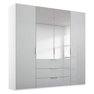 Rauch - Formes Glass 4 Door Combo Hinged Wardrobe with 2 Mirrors and Drawers - Grey