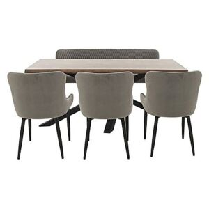 Sapporo Table, 3 Velvet Chairs and Bench Dining Set - Brown