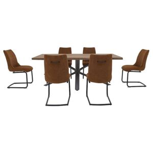 Habufa - Philadelphia Dining Table and 6 Dining Chairs - 170-cm - Brown