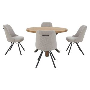 Detroit Round Dining Table and 4 Detroit Dining Chairs - Grey