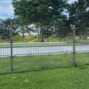 VidaXL Fence Panel with Posts Powder-coated Iron 6x1.2 m Anthracite