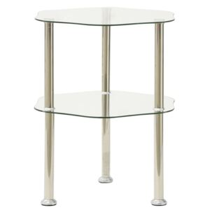 2-Tier Side Table Transparent 38x38x50 cm Tempered Glass
