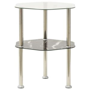 2-Tier Side Table Transparent & Black 38x38x50cm Tempered Glass