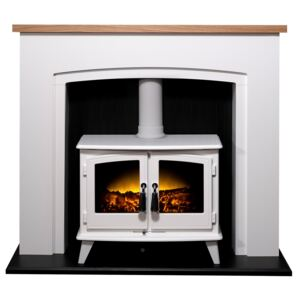 Adam Siena in White & Black with Woodhouse Electric Stove in White