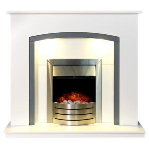Adam Tuscany in White & Grey with Downlights & Comet Electric Fire in Brushed Steel