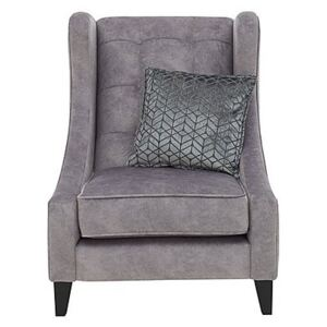 Amora Fabric Winged Accent Chair - Silver