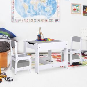 Children's Table with 2 Chairs White MDF