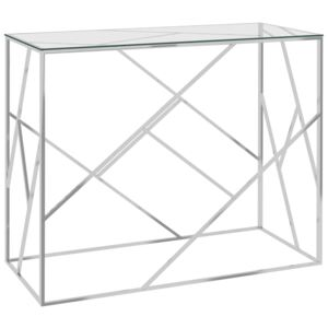 Side Table Silver 90x40x75 cm Stainless Steel and Glass