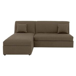 Versatile Small 2 Seater Fabric Chaise Sofa Bed No Arms - Mink