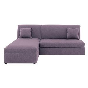 Versatile Small 2 Seater Fabric Chaise Sofa Bed No Arms - Purple