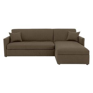 Versatile 2 Seater Fabric Chaise Sofa Bed with Storage with Slim Arms - Mink