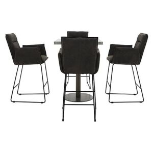 Moon Bar Table and 4 Bar Stools with Arms
