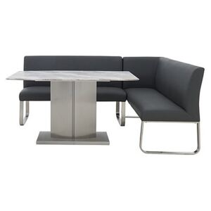 Cocoon Dining Table and Right Hand Facing Corner Bench - Black