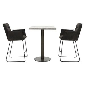 Moon Bar Table and 2 Bar Stools with Arms