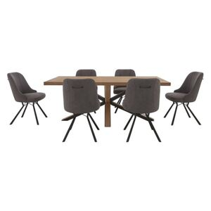 Habufa - Detroit 200cm Starburst Leg Dining Table with 6 Detroit Dining Chairs