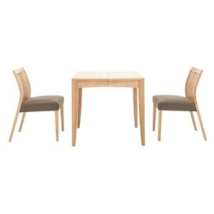 Duplex Small Extending Dining Table with 2 Low Slatted-Back Chairs