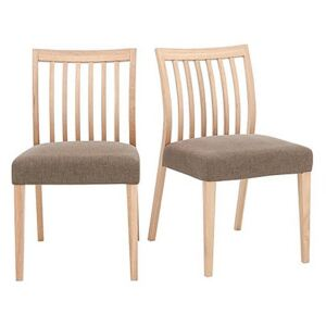 Duplex Pair of Low Slatted-Back Dining Chairs - Brown