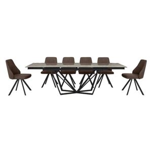 Aquila Extending Dining Table and 6 Swivel Dining Chairs - Brown