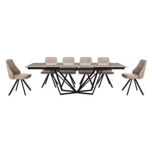 Aquila Extending Dining Table and 6 Swivel Dining Chairs - Grey