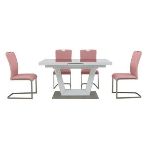 Bianco Small Extending Dining Table and 4 Chairs Dining Set