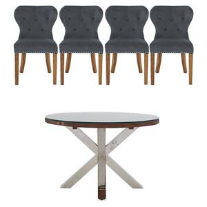 Chennai Round Table and 4 Upholstered Chairs Dining Set - Grey