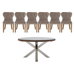 Chennai Round Table and 6 Upholstered Chairs Dining Set - Brown