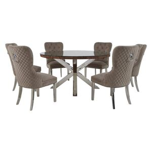 Chennai Round Table and 6 Quilted Chairs Dining Set - Brown