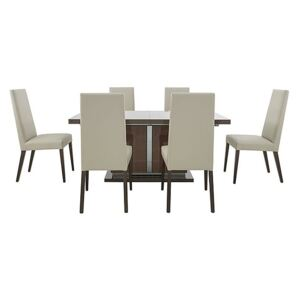 ALF - Vito Large Extending Dining Table and 6 Rose Wood Back Faux Leather Dining Chairs