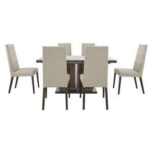 ALF - Vito Small Extending Dining Table and 6 Rose Wood Back Faux Leather Dining Chairs