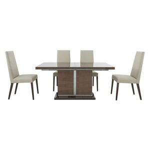 ALF - Vito Small Extending Dining Table and 4 Rose Wood Back Faux Leather Dining Chairs