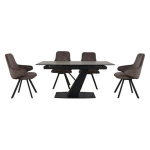 Enterprise Dining Table and 4 Swivel Arm Chairs Dining Set